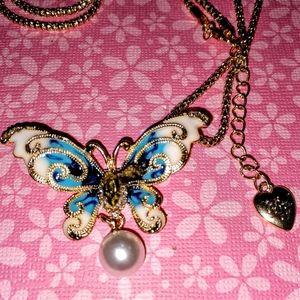 Betsey Johnson Crystal  Enamel Butterfly Necklace